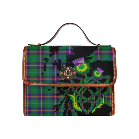 Image of Young Modern Tartan Map & Thistle Waterproof Canvas Handbag| Hot Sale