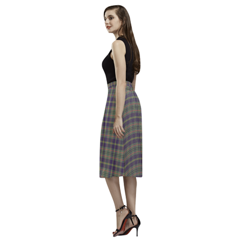 Image of Taylor Weathered Tartan Aoede Crepe Skirt | Exclusive Over 500 Tartan