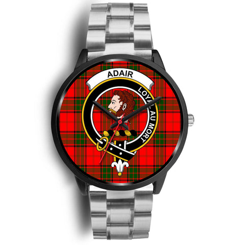 Adair Clans ,Black Metal Link watch, leather steel watch, tartan watch, tartan watches, clan watch, scotland watch, merry christmas, cyber Monday, halloween, black Friday
