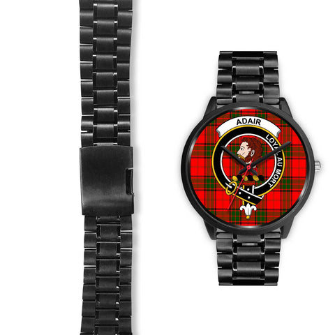 Adair Clans ,Black Leather watch, leather steel watch, tartan watch, tartan watches, clan watch, scotland watch, merry christmas, cyber Monday, halloween, black Friday