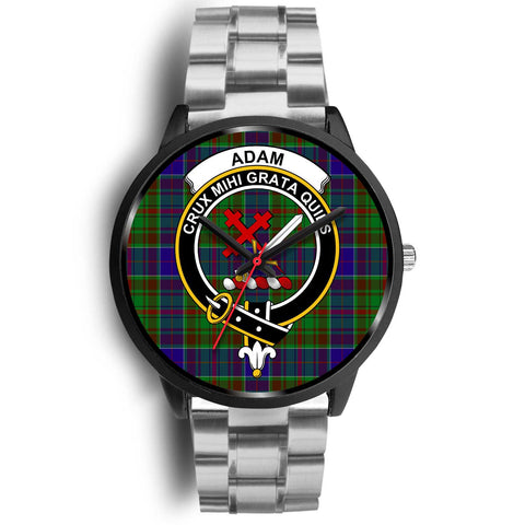 Adam Clans ,Black Metal Link watch, leather steel watch, tartan watch, tartan watches, clan watch, scotland watch, merry christmas, cyber Monday, halloween, black Friday