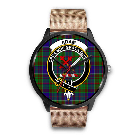 Adam Clans ,Brown Leather watch, leather steel watch, tartan watch, tartan watches, clan watch, scotland watch, merry christmas, cyber Monday, halloween, black Friday