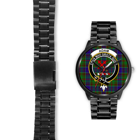 Adam Clans ,Black Leather watch, leather steel watch, tartan watch, tartan watches, clan watch, scotland watch, merry christmas, cyber Monday, halloween, black Friday