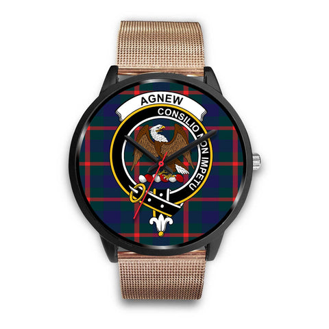 Agnew Modern Clans ,Rose Gold Metal Link watch, leather steel watch, tartan watch, tartan watches, clan watch, scotland watch, merry christmas, cyber Monday, halloween, black Friday
