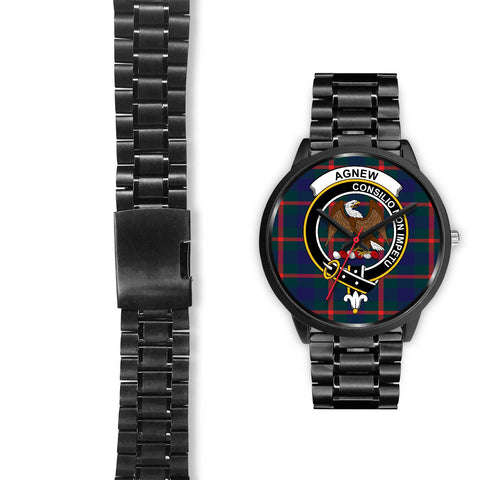 Agnew Modern Clans ,Black Leather watch, leather steel watch, tartan watch, tartan watches, clan watch, scotland watch, merry christmas, cyber Monday, halloween, black Friday