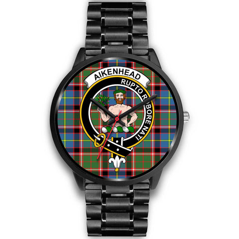 Aikenhead Clans ,Black Metal Link watch, leather steel watch, tartan watch, tartan watches, clan watch, scotland watch, merry christmas, cyber Monday, halloween, black Friday