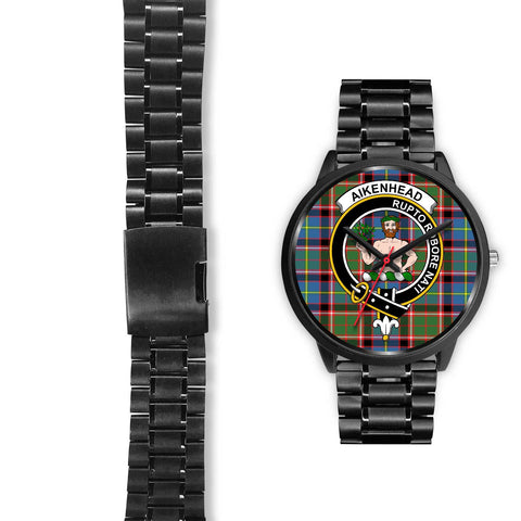 Aikenhead Clans ,Black Leather watch, leather steel watch, tartan watch, tartan watches, clan watch, scotland watch, merry christmas, cyber Monday, halloween, black Friday