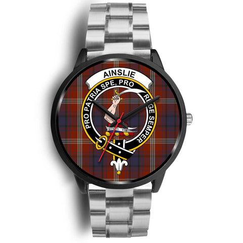 Ainslie Clans ,Black Metal Link watch, leather steel watch, tartan watch, tartan watches, clan watch, scotland watch, merry christmas, cyber Monday, halloween, black Friday