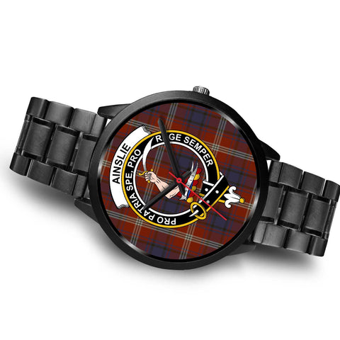 Ainslie Clans ,Brown Leather watch, leather steel watch, tartan watch, tartan watches, clan watch, scotland watch, merry christmas, cyber Monday, halloween, black Friday