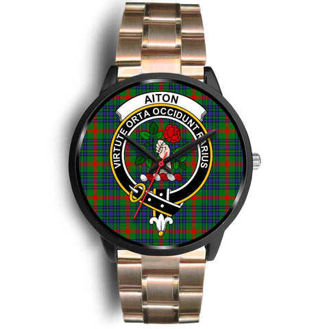 Aiton Clans ,Black Leather watch, leather steel watch, tartan watch, tartan watches, clan watch, scotland watch, merry christmas, cyber Monday, halloween, black Friday