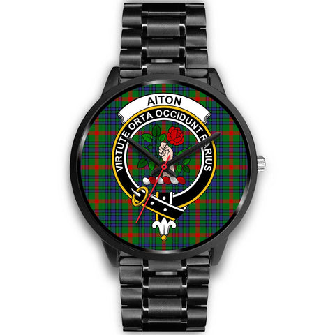 Aiton Clans ,Black Metal Link watch, leather steel watch, tartan watch, tartan watches, clan watch, scotland watch, merry christmas, cyber Monday, halloween, black Friday