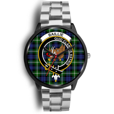 Image of Baillie Modern Clans ,Black Metal Link watch, leather steel watch, tartan watch, tartan watches, clan watch, scotland watch, merry christmas, cyber Monday, halloween, black Friday