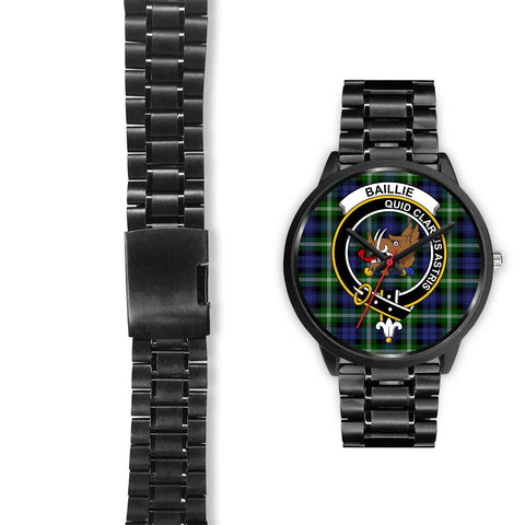 Image of Baillie Modern Clans ,Black Leather watch, leather steel watch, tartan watch, tartan watches, clan watch, scotland watch, merry christmas, cyber Monday, halloween, black Friday