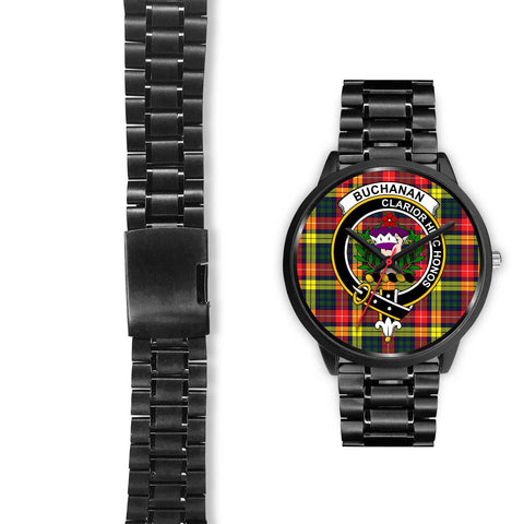 Buchanan Modern Clans ,Black Leather watch, leather steel watch, tartan watch, tartan watches, clan watch, scotland watch, merry christmas, cyber Monday, halloween, black Friday