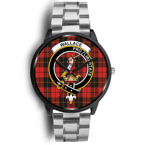 Wallace Weathered Clans ,Black Metal Link watch, leather steel watch, tartan watch, tartan watches, clan watch, scotland watch, merry christmas, cyber Monday, halloween, black Friday