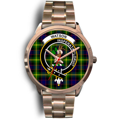 Image of Watson Modern, Rose Gold Metal Link Watch,  leather steel watch, tartan watch, tartan watches, clan watch, scotland watch, merry christmas, cyber Monday, halloween, black Friday