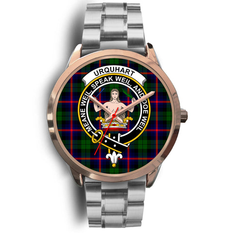 Urquhart Modern, Brown Leather Watch,  leather steel watch, tartan watch, tartan watches, clan watch, scotland watch, merry christmas, cyber Monday, halloween, black Friday