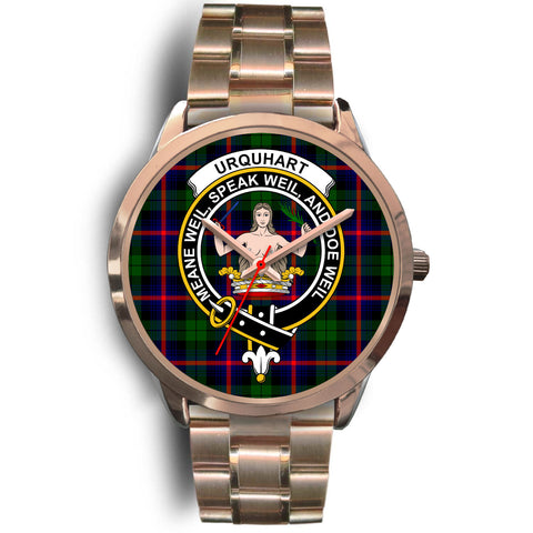Urquhart Modern, Rose Gold Metal Link Watch,  leather steel watch, tartan watch, tartan watches, clan watch, scotland watch, merry christmas, cyber Monday, halloween, black Friday