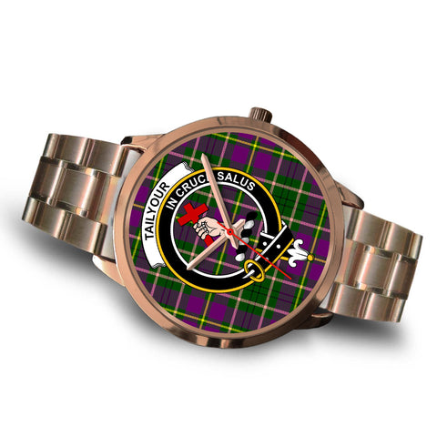 Image of Taylor, Brown Leather Watch,  leather steel watch, tartan watch, tartan watches, clan watch, scotland watch, merry christmas, cyber Monday, halloween, black Friday