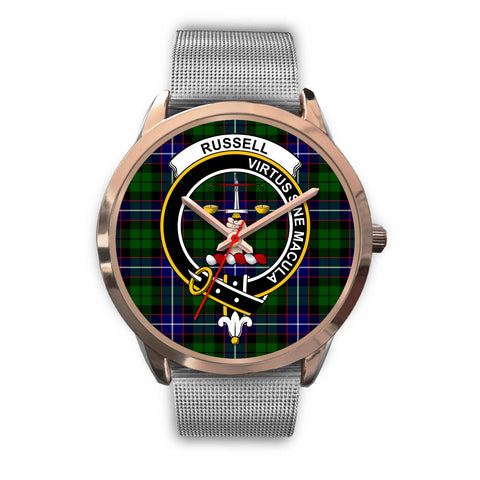 Russell, Rose Gold Metal Link Watch,  leather steel watch, tartan watch, tartan watches, clan watch, scotland watch, merry christmas, cyber Monday, halloween, black Friday