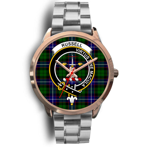 Russell, Brown Leather Watch,  leather steel watch, tartan watch, tartan watches, clan watch, scotland watch, merry christmas, cyber Monday, halloween, black Friday