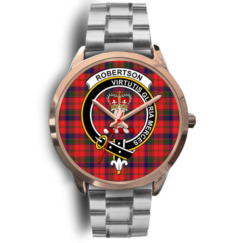 Robertson Modern, Brown Leather Watch,  leather steel watch, tartan watch, tartan watches, clan watch, scotland watch, merry christmas, cyber Monday, halloween, black Friday
