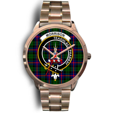 Morrison Modern, Rose Gold Metal Link Watch,  leather steel watch, tartan watch, tartan watches, clan watch, scotland watch, merry christmas, cyber Monday, halloween, black Friday