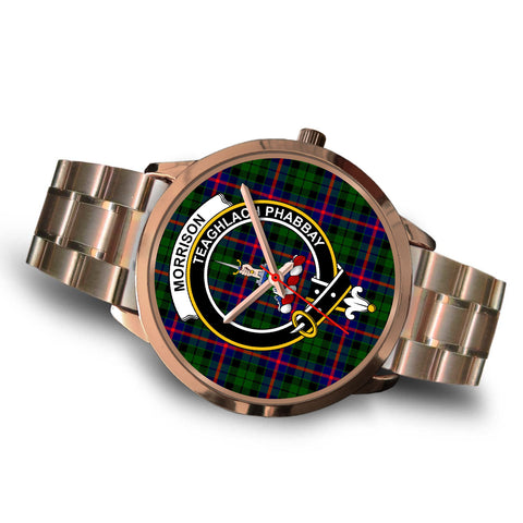 Morrison Modern, Brown Leather Watch,  leather steel watch, tartan watch, tartan watches, clan watch, scotland watch, merry christmas, cyber Monday, halloween, black Friday