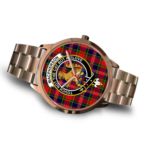 MacPherson Modern, Brown Leather Watch,  leather steel watch, tartan watch, tartan watches, clan watch, scotland watch, merry christmas, cyber Monday, halloween, black Friday