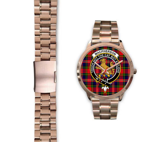 MacPherson Modern, Black Leather Watch,  leather steel watch, tartan watch, tartan watches, clan watch, scotland watch, merry christmas, cyber Monday, halloween, black Friday
