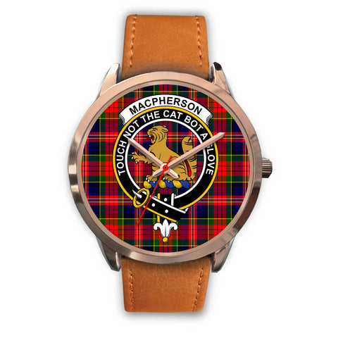MacPherson Modern, Pink Leather Watch,  leather steel watch, tartan watch, tartan watches, clan watch, scotland watch, merry christmas, cyber Monday, halloween, black Friday