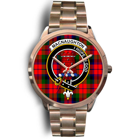 Image of MacNaughton Modern, Rose Gold Metal Link Watch,  leather steel watch, tartan watch, tartan watches, clan watch, scotland watch, merry christmas, cyber Monday, halloween, black Friday