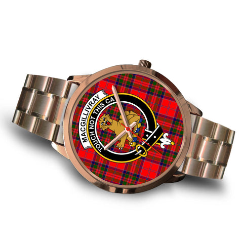 MacGillivray Modern, Brown Leather Watch,  leather steel watch, tartan watch, tartan watches, clan watch, scotland watch, merry christmas, cyber Monday, halloween, black Friday