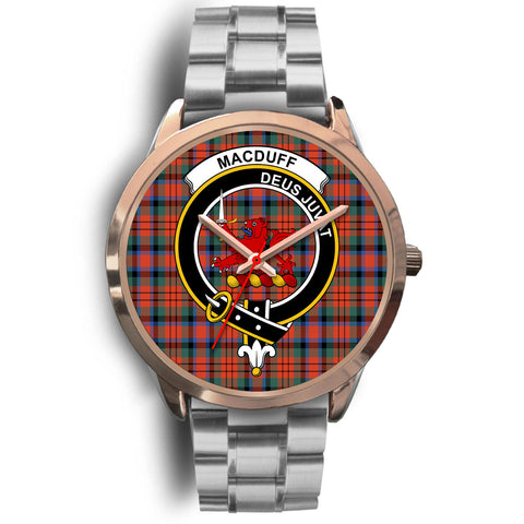 MacDuff Ancient, Brown Leather Watch,  leather steel watch, tartan watch, tartan watches, clan watch, scotland watch, merry christmas, cyber Monday, halloween, black Friday