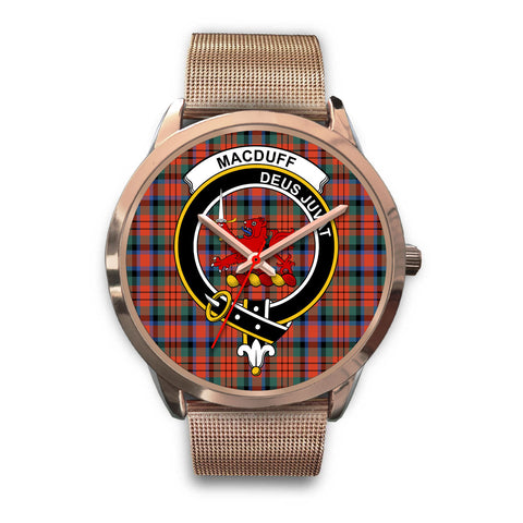 MacDuff Ancient, Black Leather Watch,  leather steel watch, tartan watch, tartan watches, clan watch, scotland watch, merry christmas, cyber Monday, halloween, black Friday
