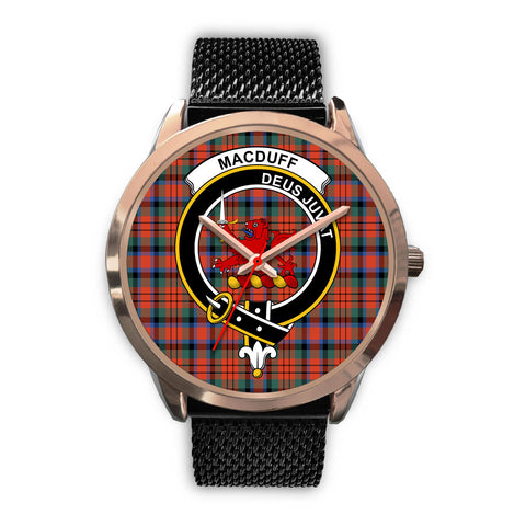 Image of MacDuff Ancient, Silver Metal Link Watch,  leather steel watch, tartan watch, tartan watches, clan watch, scotland watch, merry christmas, cyber Monday, halloween, black Friday