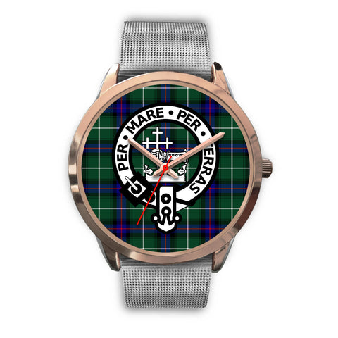 MacDonald of the Isles, Rose Gold Metal Link Watch,  leather steel watch, tartan watch, tartan watches, clan watch, scotland watch, merry christmas, cyber Monday, halloween, black Friday