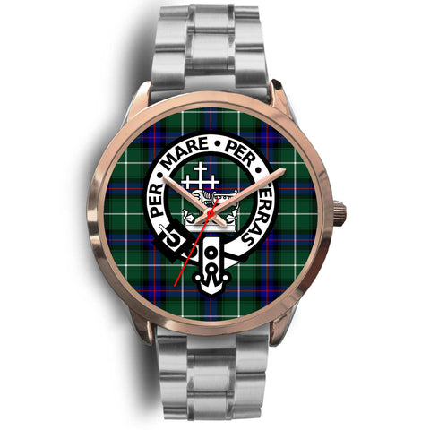 MacDonald of the Isles, Brown Leather Watch,  leather steel watch, tartan watch, tartan watches, clan watch, scotland watch, merry christmas, cyber Monday, halloween, black Friday