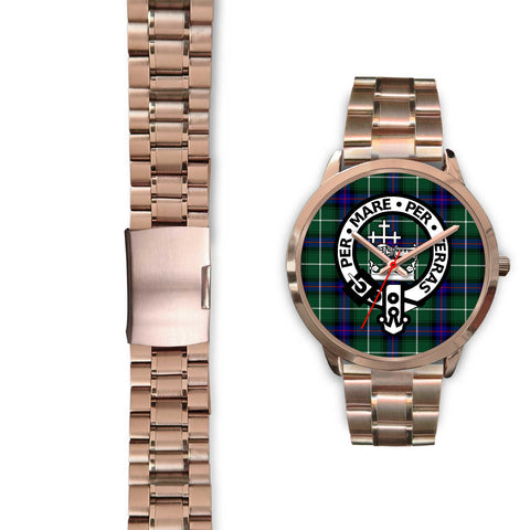 MacDonald of the Isles, Black Leather Watch,  leather steel watch, tartan watch, tartan watches, clan watch, scotland watch, merry christmas, cyber Monday, halloween, black Friday