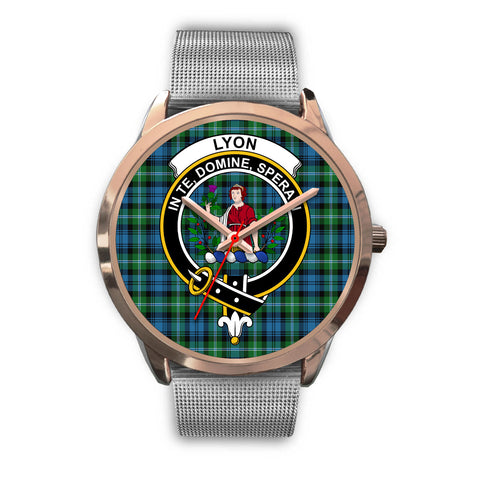 Lyon Clan, Rose Gold Metal Link Watch,  leather steel watch, tartan watch, tartan watches, clan watch, scotland watch, merry christmas, cyber Monday, halloween, black Friday