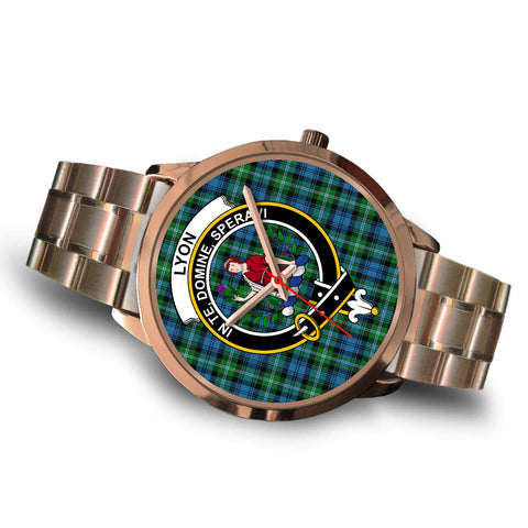 Lyon Clan, Brown Leather Watch,  leather steel watch, tartan watch, tartan watches, clan watch, scotland watch, merry christmas, cyber Monday, halloween, black Friday
