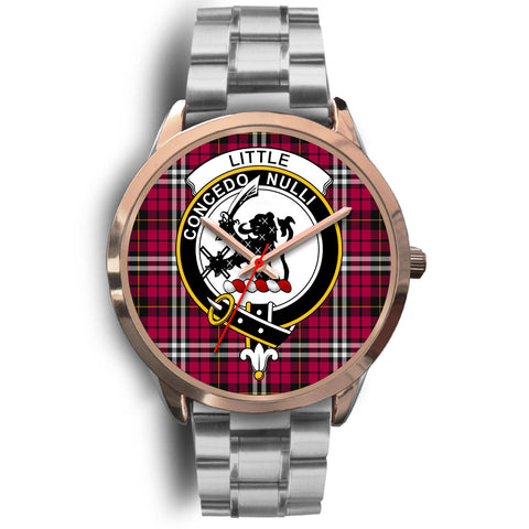 Little, Brown Leather Watch,  leather steel watch, tartan watch, tartan watches, clan watch, scotland watch, merry christmas, cyber Monday, halloween, black Friday