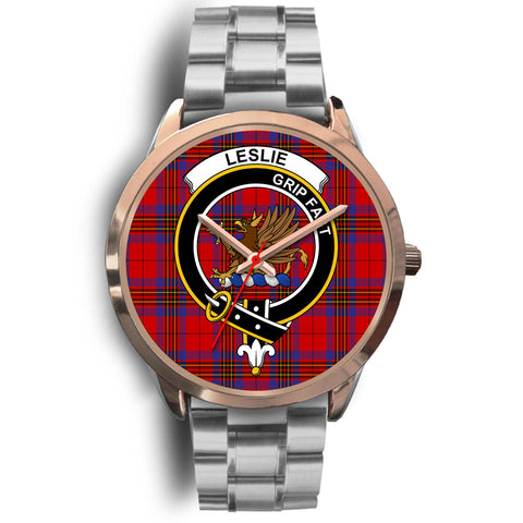 Leslie Modern, Brown Leather Watch,  leather steel watch, tartan watch, tartan watches, clan watch, scotland watch, merry christmas, cyber Monday, halloween, black Friday