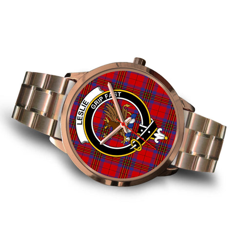 Image of Leslie Modern, Brown Leather Watch,  leather steel watch, tartan watch, tartan watches, clan watch, scotland watch, merry christmas, cyber Monday, halloween, black Friday