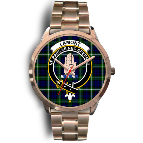 Image of Lamont Modern, Rose Gold Metal Link Watch,  leather steel watch, tartan watch, tartan watches, clan watch, scotland watch, merry christmas, cyber Monday, halloween, black Friday