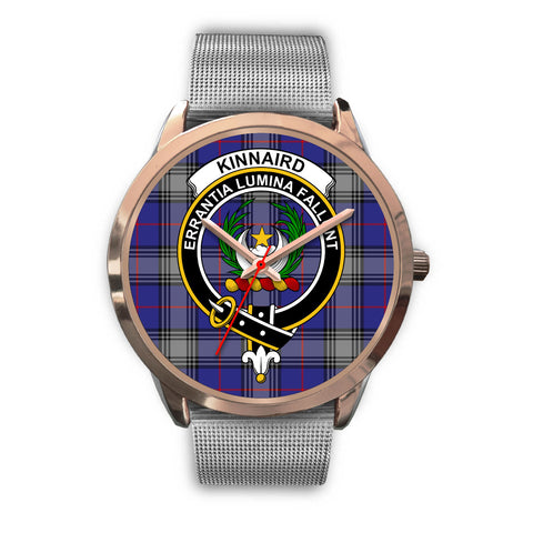 Kinnaird, Rose Gold Metal Link Watch,  leather steel watch, tartan watch, tartan watches, clan watch, scotland watch, merry christmas, cyber Monday, halloween, black Friday