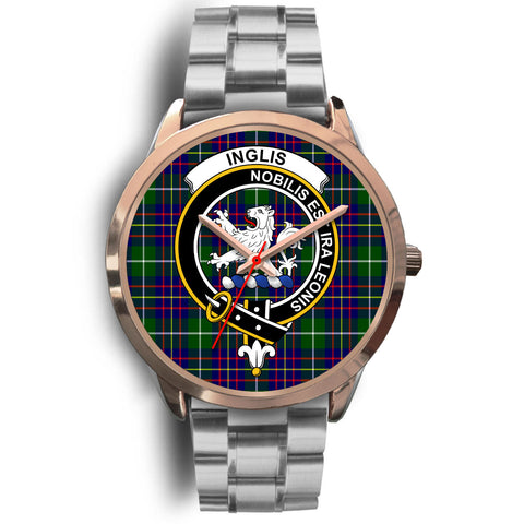 Image of Inglis Modern, Brown Leather Watch,  leather steel watch, tartan watch, tartan watches, clan watch, scotland watch, merry christmas, cyber Monday, halloween, black Friday