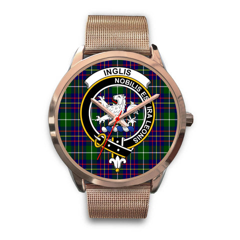 Image of Inglis Modern, Black Leather Watch,  leather steel watch, tartan watch, tartan watches, clan watch, scotland watch, merry christmas, cyber Monday, halloween, black Friday
