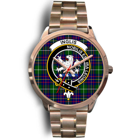 Image of Inglis Modern, Rose Gold Metal Link Watch,  leather steel watch, tartan watch, tartan watches, clan watch, scotland watch, merry christmas, cyber Monday, halloween, black Friday