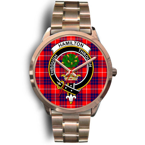 Image of Hamilton Modern, Rose Gold Metal Link Watch,  leather steel watch, tartan watch, tartan watches, clan watch, scotland watch, merry christmas, cyber Monday, halloween, black Friday
